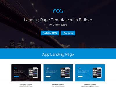 Fog - Landing Page Template with Drag & Drop Builder