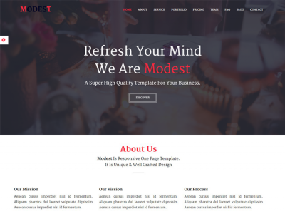 Modest - Responsive One Page Template