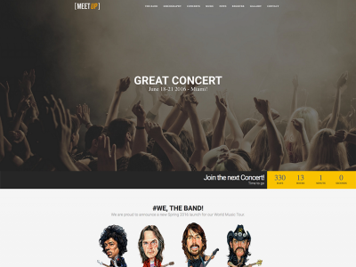MeetUp - HTML5 Responsive One Page Event/Music Band Template