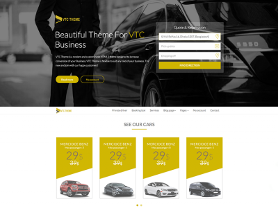 VTC Theme - Cars and Taxi Booking Template