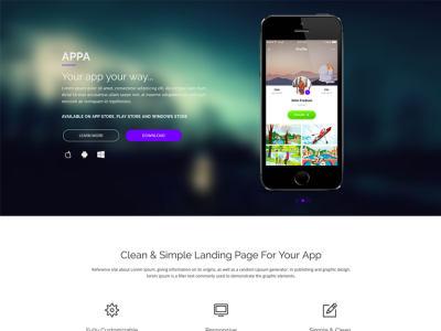 Appa - Single Page App Landing Page