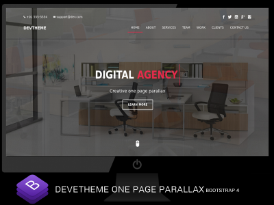 Devtheme - Bootstrap 4  One Page Parallax
