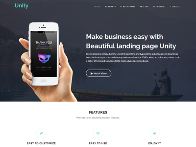 Unity – Responsive App Landing Page