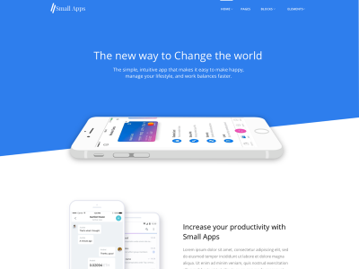 Small Apps Bootstrap App/Sass/Startup Landing Page Template