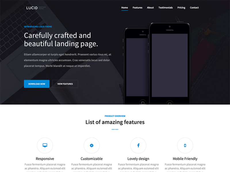 Lucid - HTML5 and Bootstrap Responsive app landing page