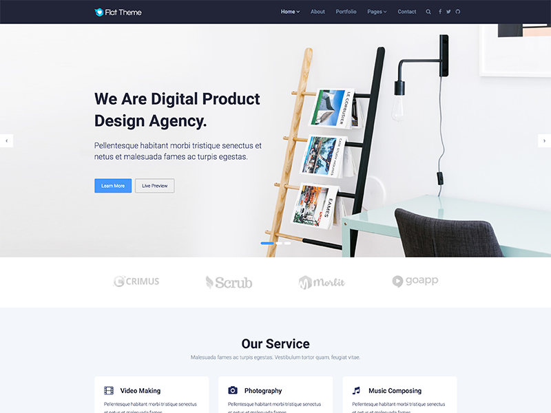 Flat Theme - Free Responsive Multipurpose Site Template