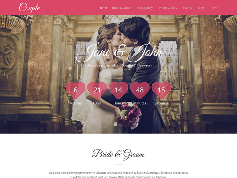 Couple || HTML 5 Wedding Templates.