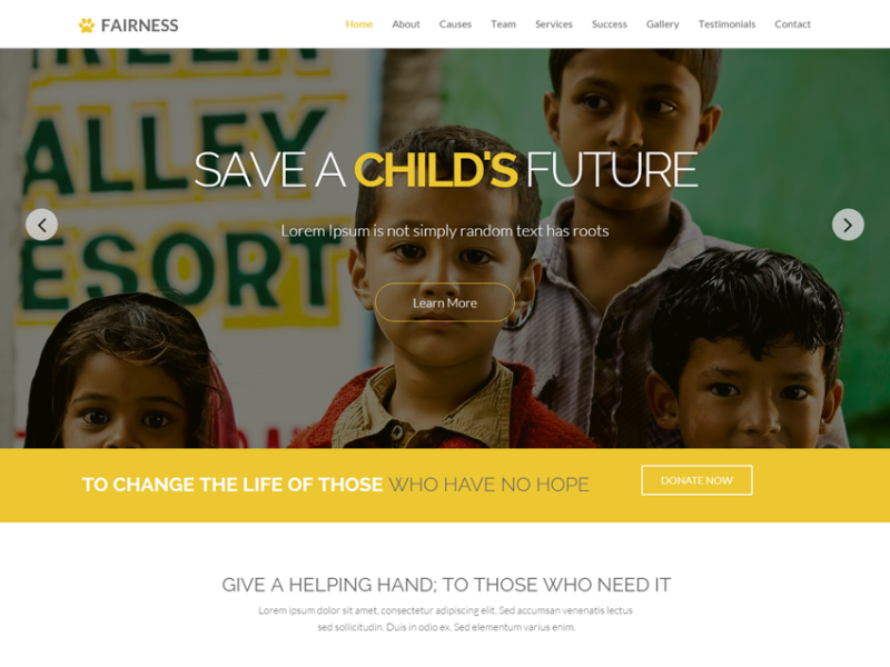 Fairness Lite - One Page Responsive Bootstrap Charity Template