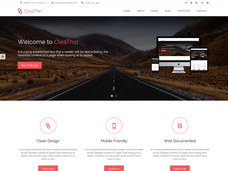 CleaThin - Clean and Minimal Site Template