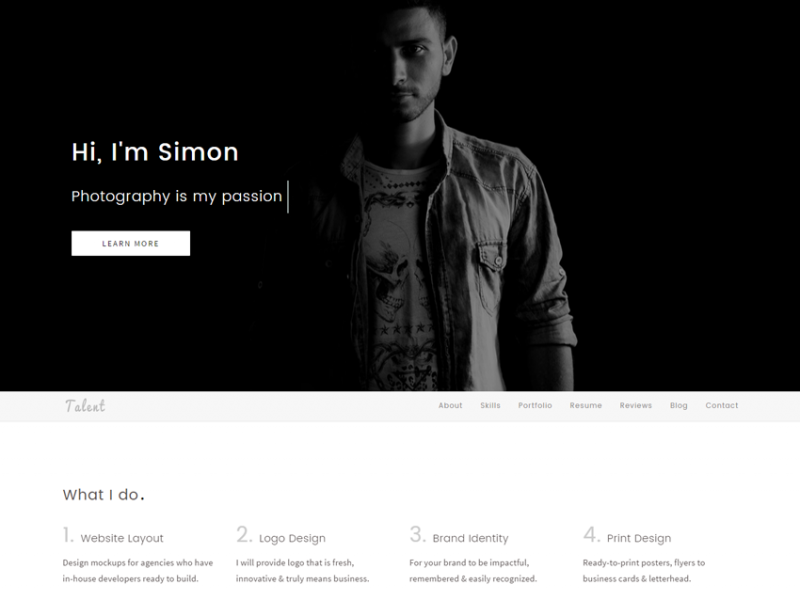 Talent - One Page Personal HTML Template
