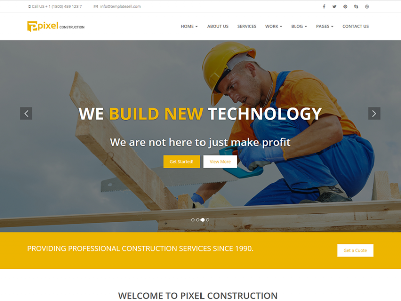 Pixel | Construction - Responsive  HTML5 Template