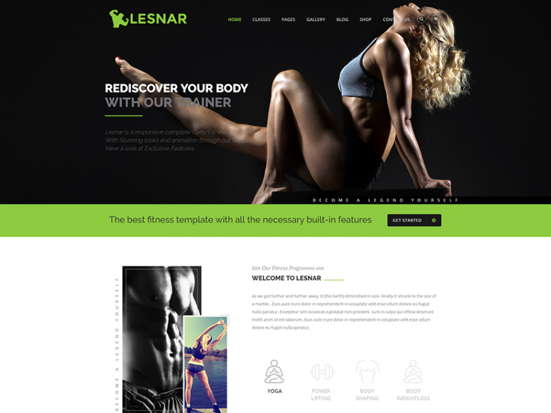 Lesnar Gym / Fitness HTML5 Template