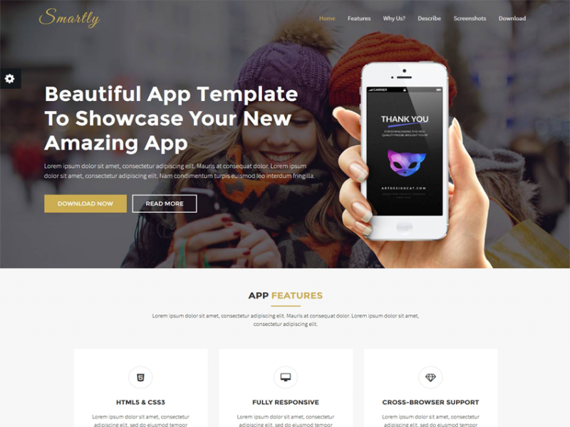 Smartly - Responsive App Landing Page