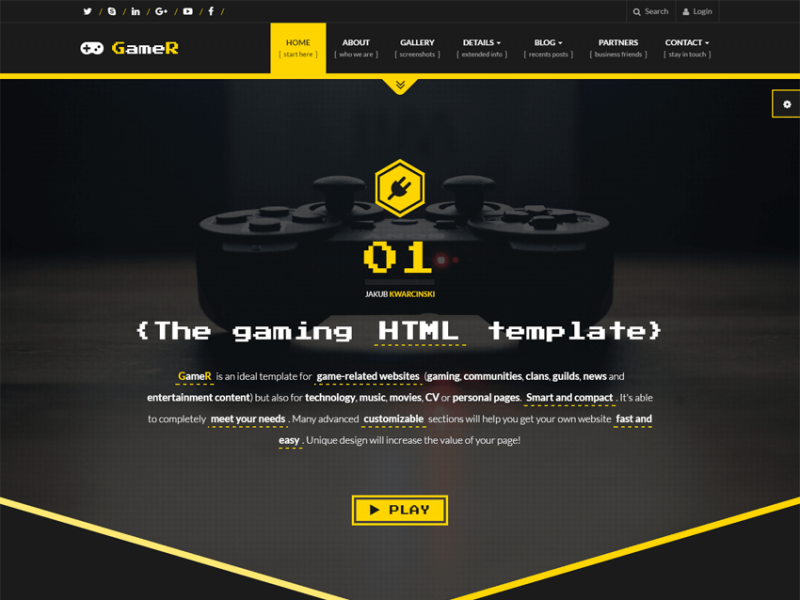 GameR - gaming HTML template