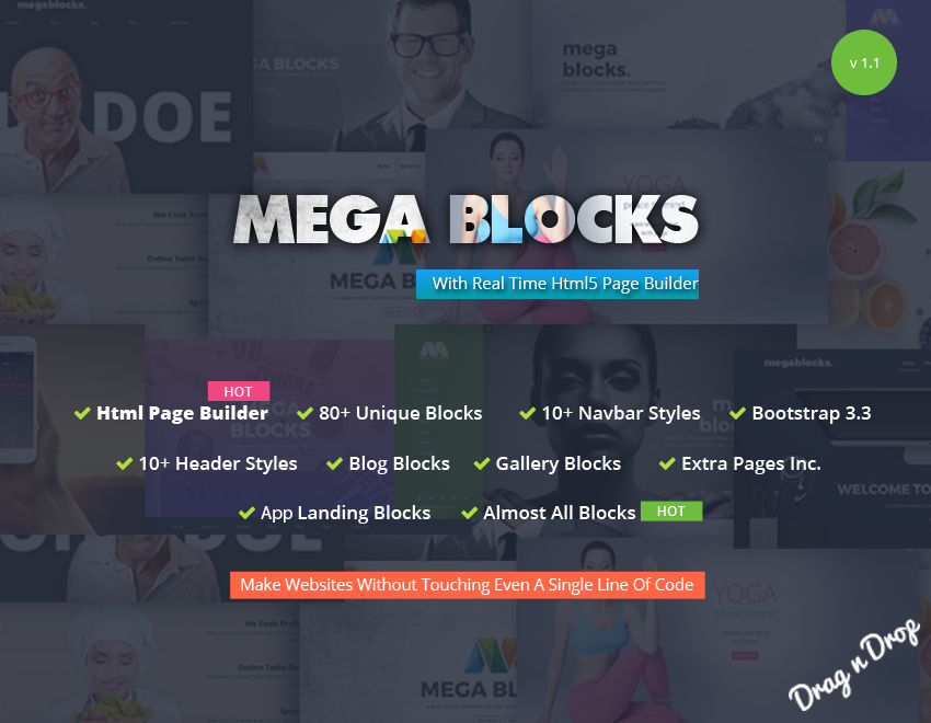 Mega Blocks - HTML5 Bootstrap Page/Template Builder