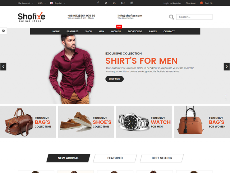 Shofixe - eCommerce Fashion Template