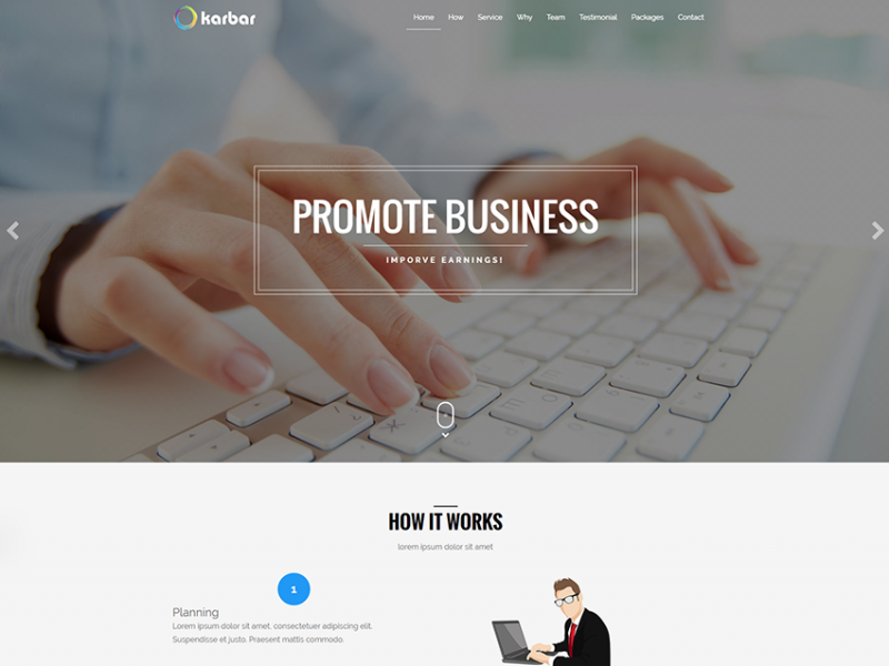 Karbar: Responsive business ladning page template