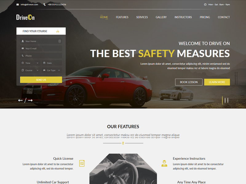 DriveOn – Free Driving School HTML Template