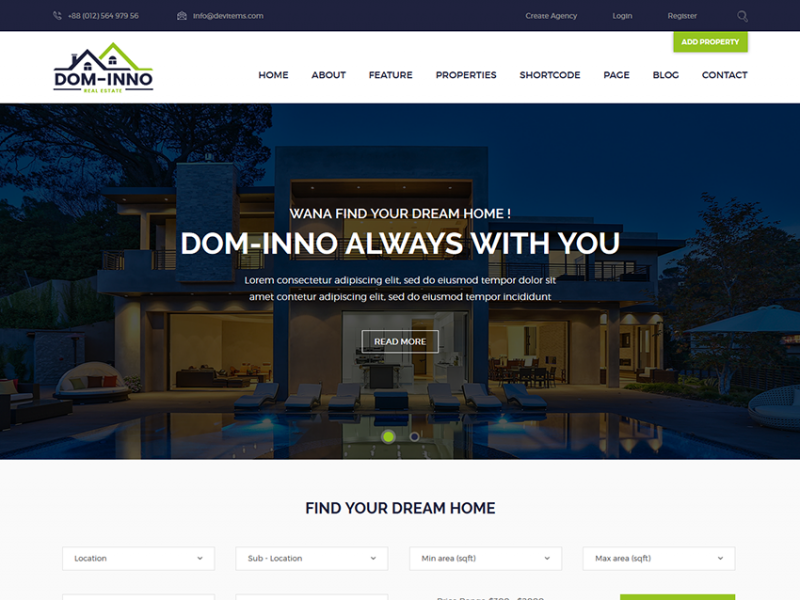 Dominno - Real Estate Responsive Template