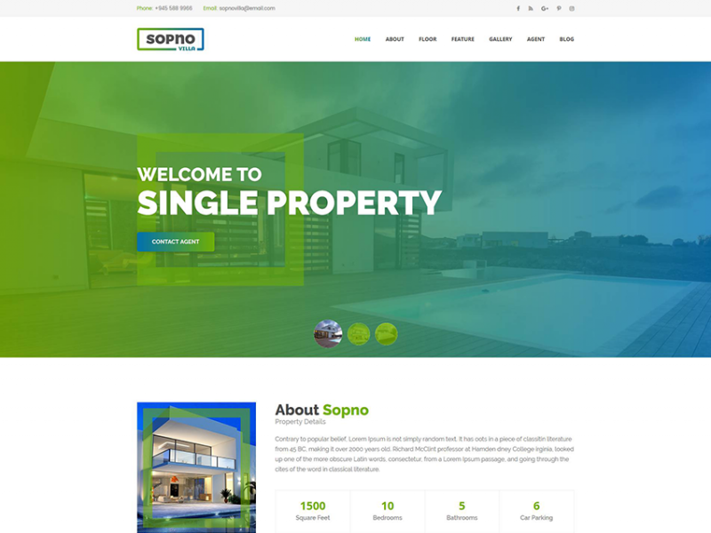 Sopnovilla - Single Property HTML Template