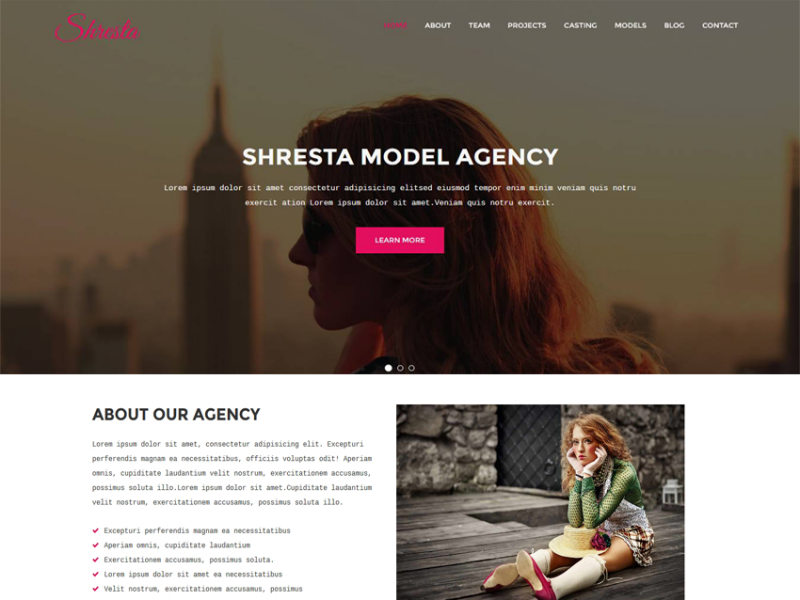 Shresta - Model Agency HTML Template