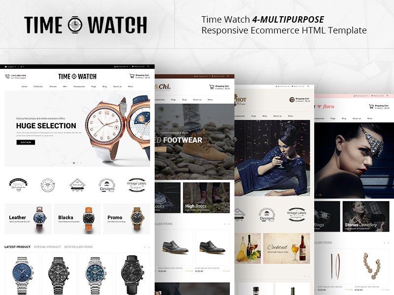 Time Watch Multipurpose Responsive Ecommerce HTML Template With 4 Layout
