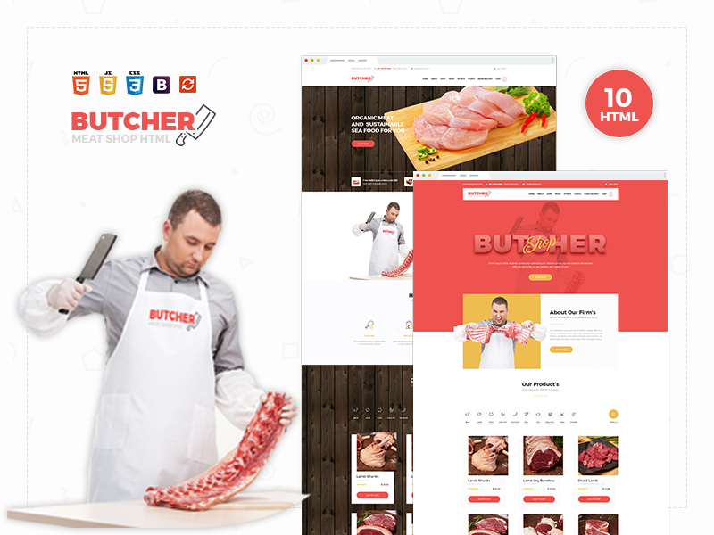 Butcher - Meat Shop eCommerce HTML Template