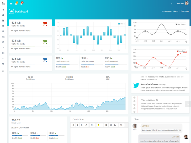 WOW - Bootstrap Admin Template