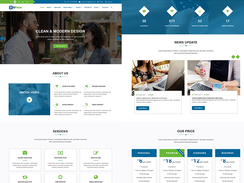 Bizface - Corporate HTML5 Template